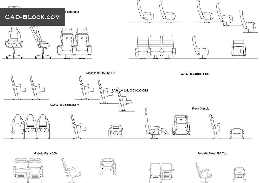 Auditorium Armchairs Cad Block Blocks Pinterest # Muebles Gimnasio Dwg