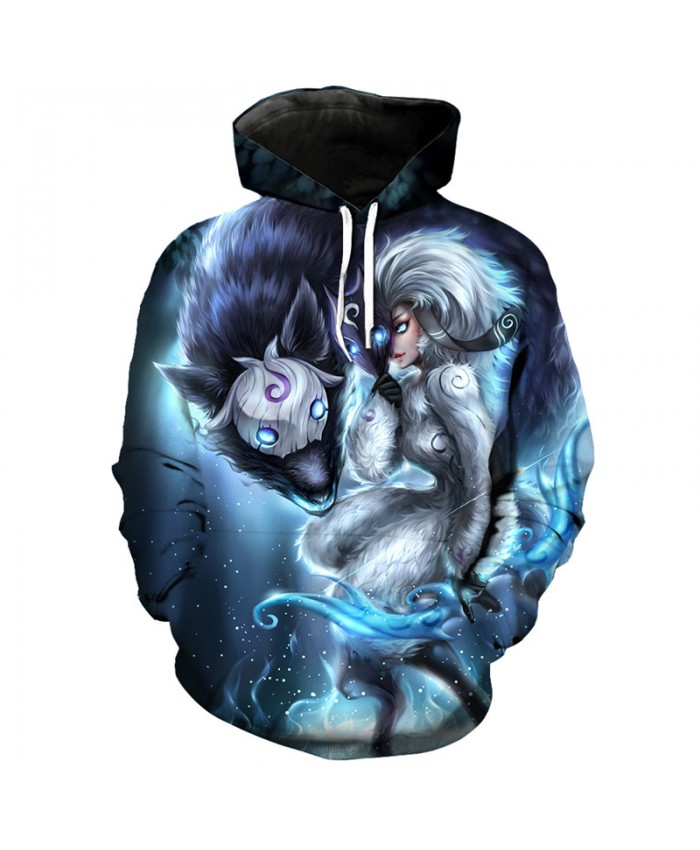 Photo of Fun Anime Wolf Knight Print Fashion 3D Hooded Sweatshirt Pullover Men Women Casu…
