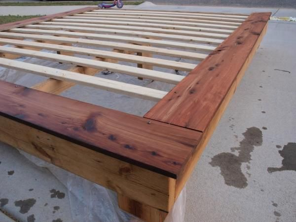 Diy Platform Bed Queen Size And Slats No Further Than 1 Used Real Wood To Have No Preservati Diy Platform Bed King Platform Bed Frame Diy Platform Bed Frame
