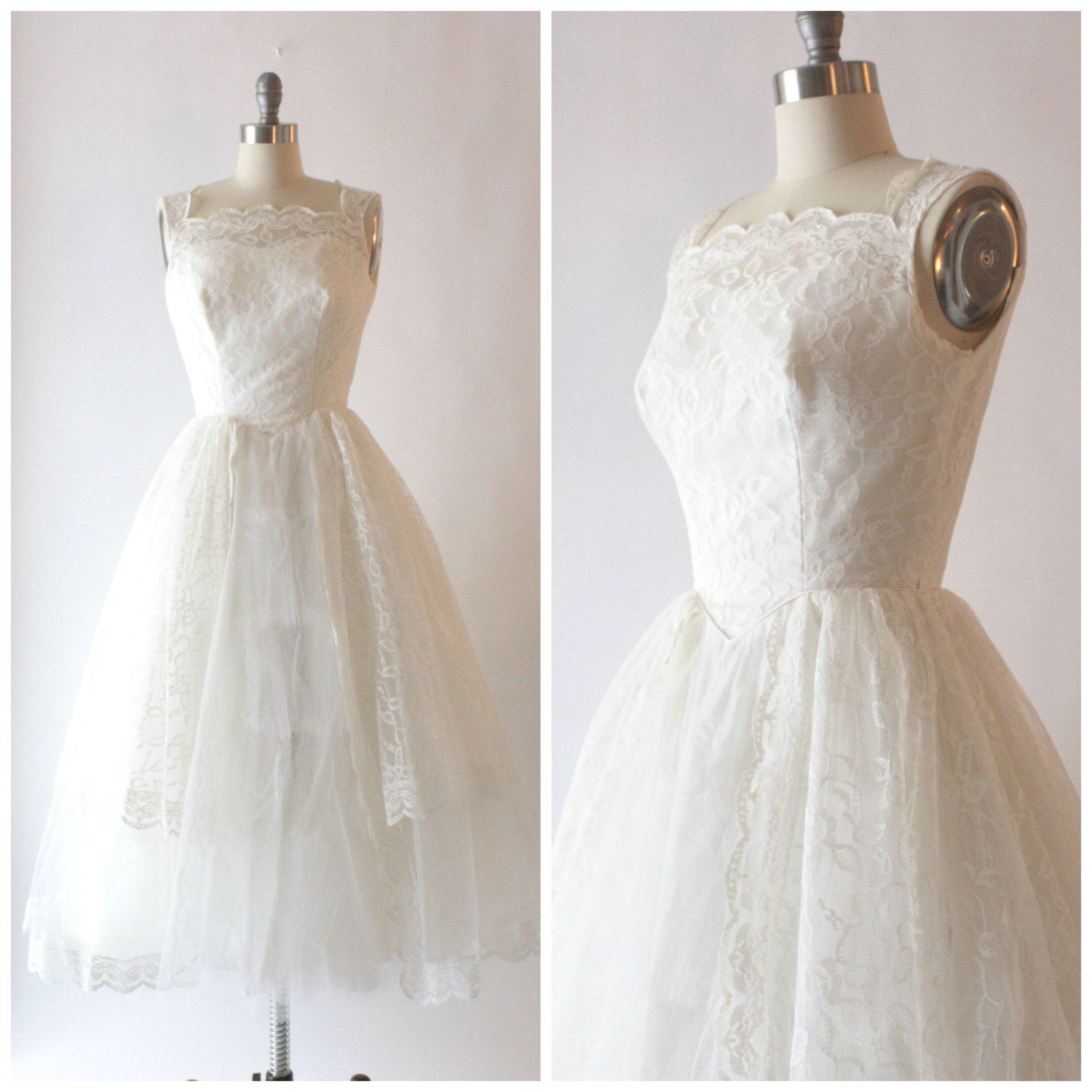 Betsey johnson wedding dresses  s chantilly lace and tulle tea length white by SchoolofVintage