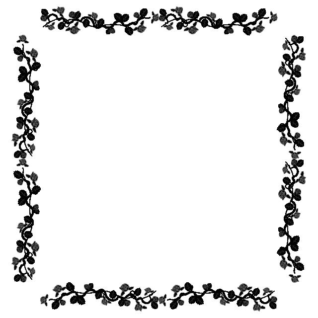 Beautiful Rose Border Black And White Frame, Border, Leaf