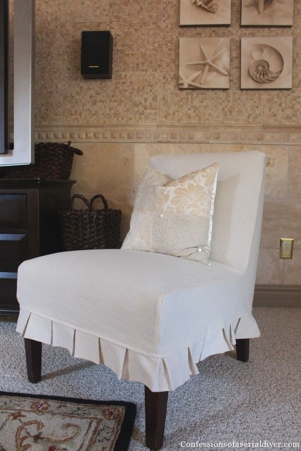 Bon Slip Covering An Armless Accent Chair  Great Tutorial! Slipper Chair  Slipcover, Chair