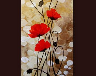 Grosse Abstrakte Malerei Original Ol Leinwand Kunst Mohnblumen Wand Kunst With Images Acrylic Painting Flowers Poppy Painting Flower Painting
