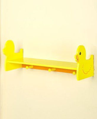 Kids' Whimsical Bathroom Accents Duck Wall Shelf with Pegs