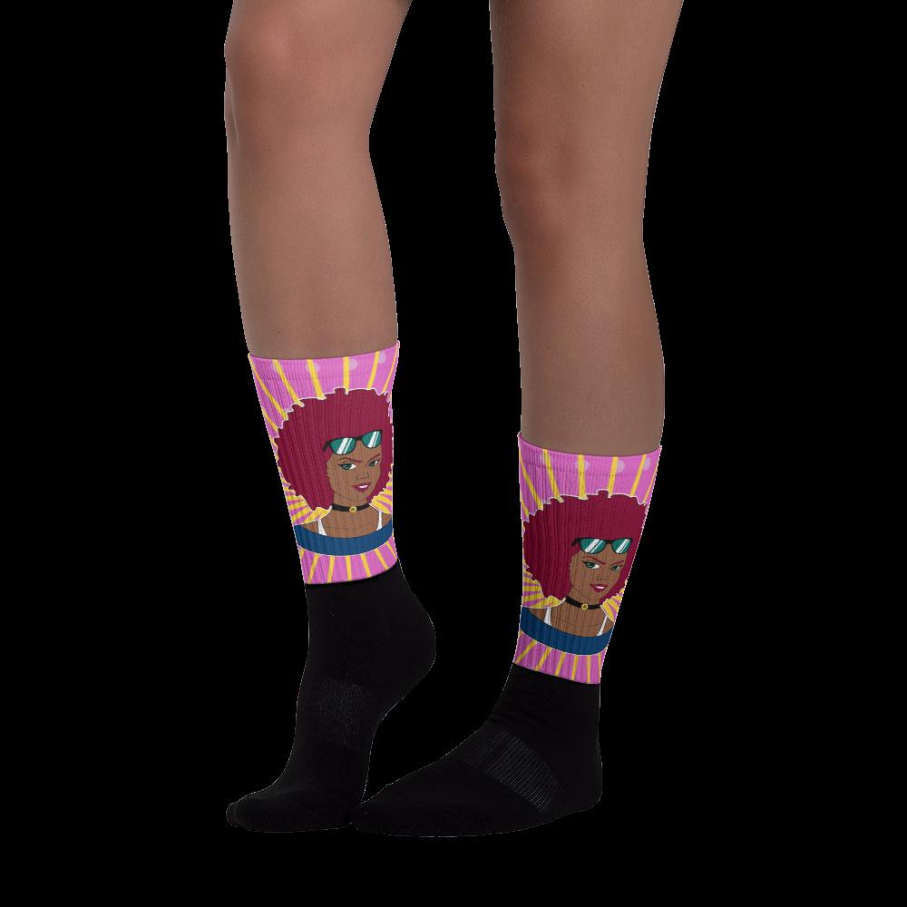 Burgundy Afro Diva Pink Starburst Black foot socks Foot