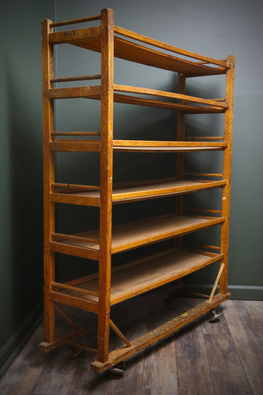 6 Tier Shelf Bakers Rack Clothing Shoe Rack Vintage Cart On Caster