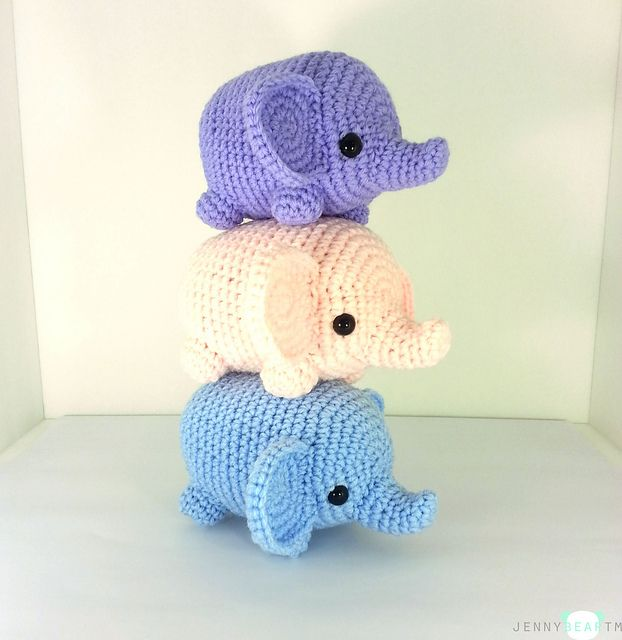 Midi Elephant Amigurumi Plush pattern by Jenny Mac | Tejido, Crochet ...