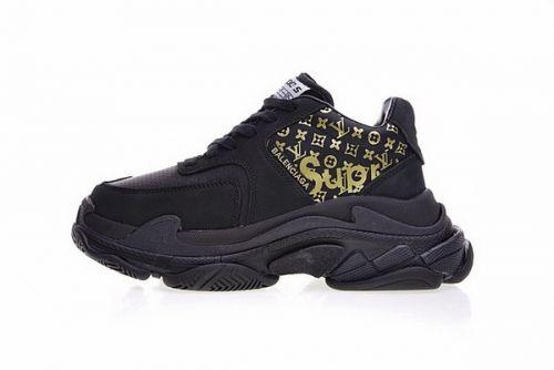 e4e81f85dc733 Best Quality LV x Supreme x Balenciaga Triple-S Trainer Black Gold 483560  W06E110