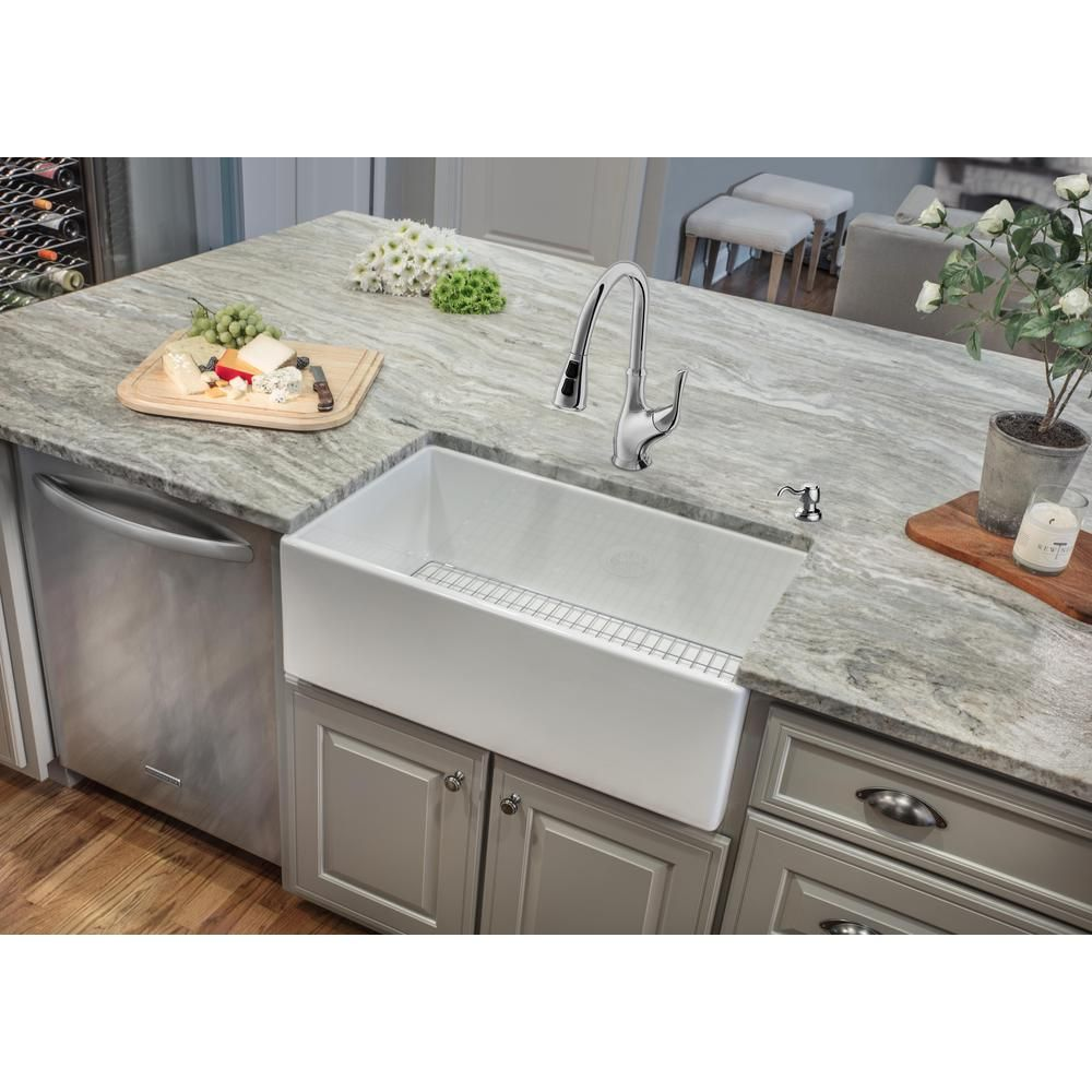 Ipt Sink Company All In One Farmhouse Apron Front Fireclay 33 In Single Bowl Kitchen Sink Wi Single Bowl Kitchen Sink Kitchen Island With Sink Kitchen Remodel