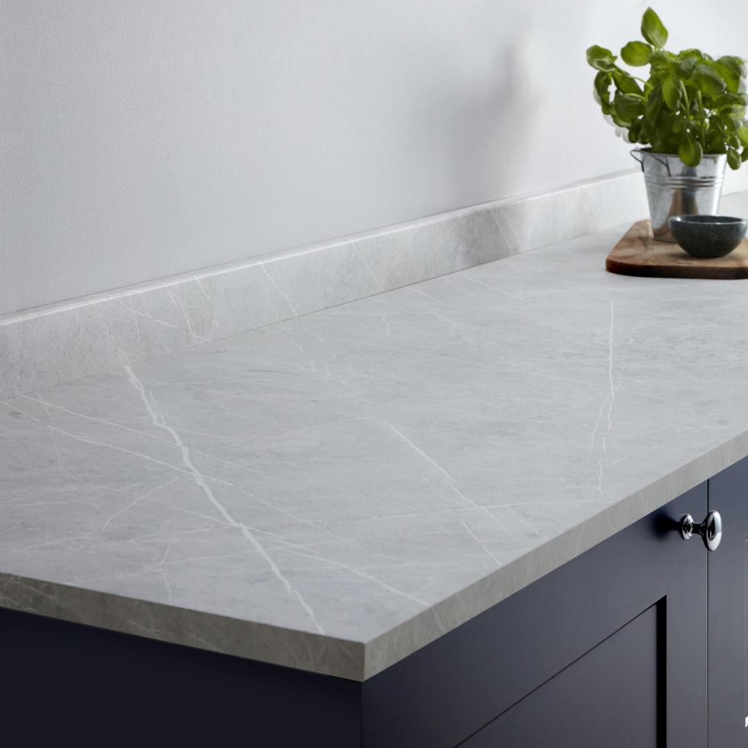 Grey Kitchen White Marble Worktop