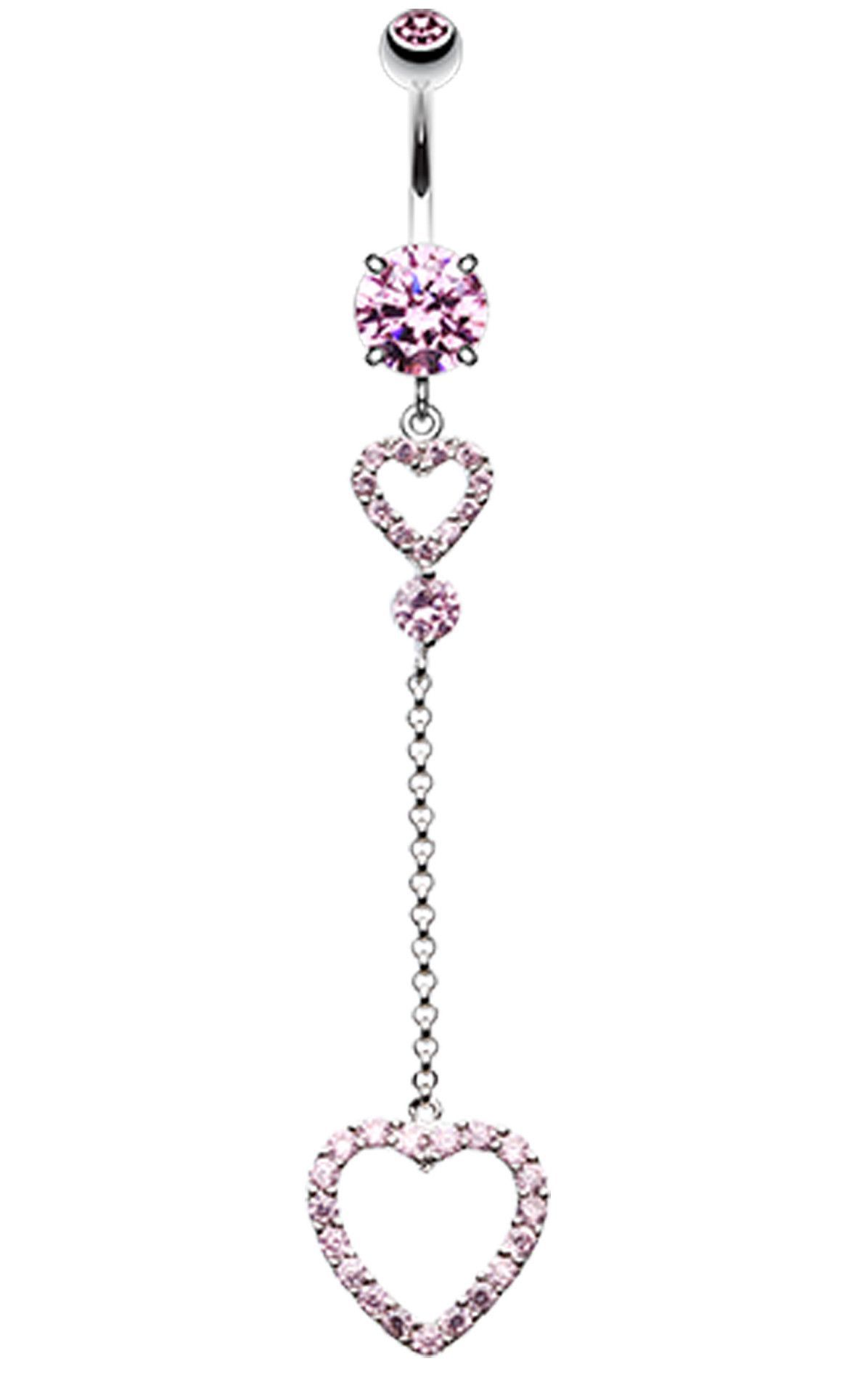 Piercing nose jewelry  Luscious Double Hearts Belly Button Ring  Belly button Ring and