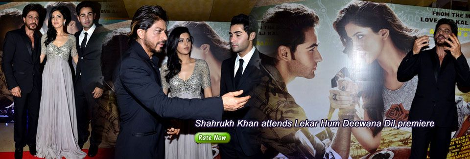 Shahrukh Khan addressing media at the premiere of Lekar Hum Deewana Dil