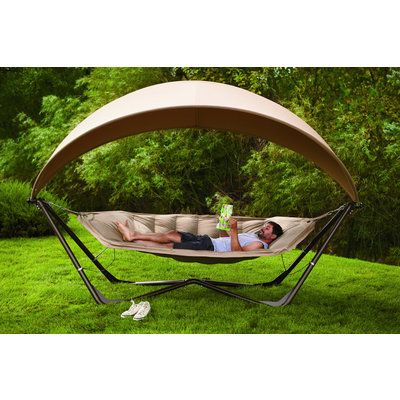 Hammock And Canopy Combo All The Comfort Without The Adventure With Images Poolside Furniture Patio Accessories Hammock