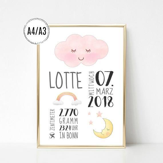 Geburtsanzeige Wolke Regenbogen Mond Geburtsposter Geburtsbild Kinderzimmer Deko Druck Geschenk Baby Geburt Taufe personalisiert Mädchen