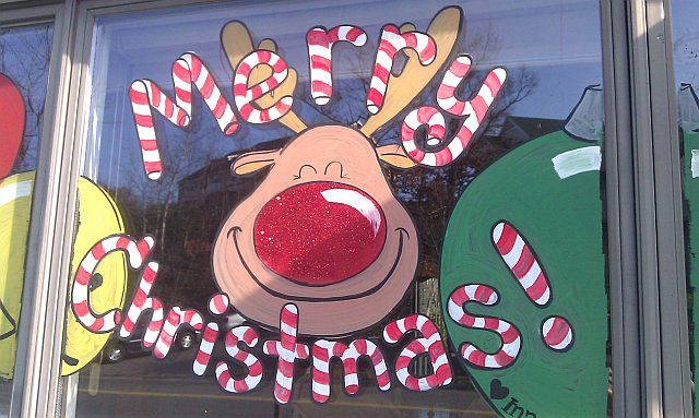 New Christmas window I painted in Peabody, MA this morning.