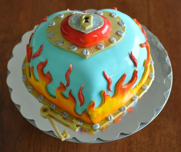 flaming valentine cake