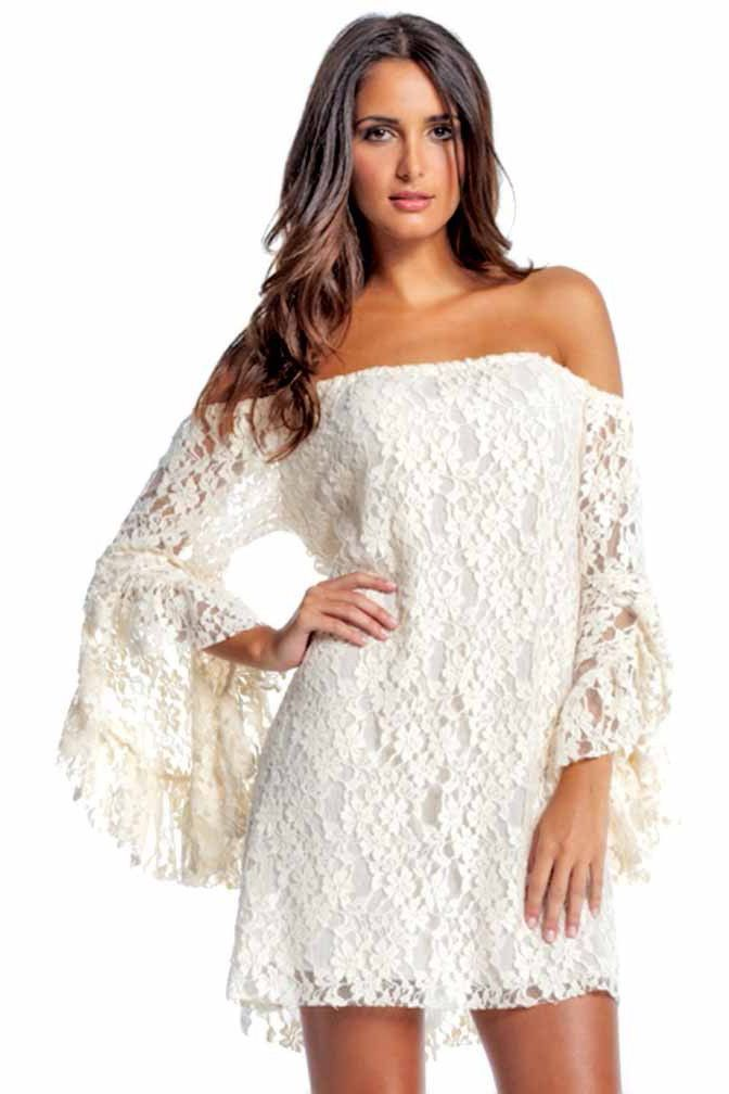 de8714de39e Off-White Lace Long Bell Sleeve Off Shoulder Dress