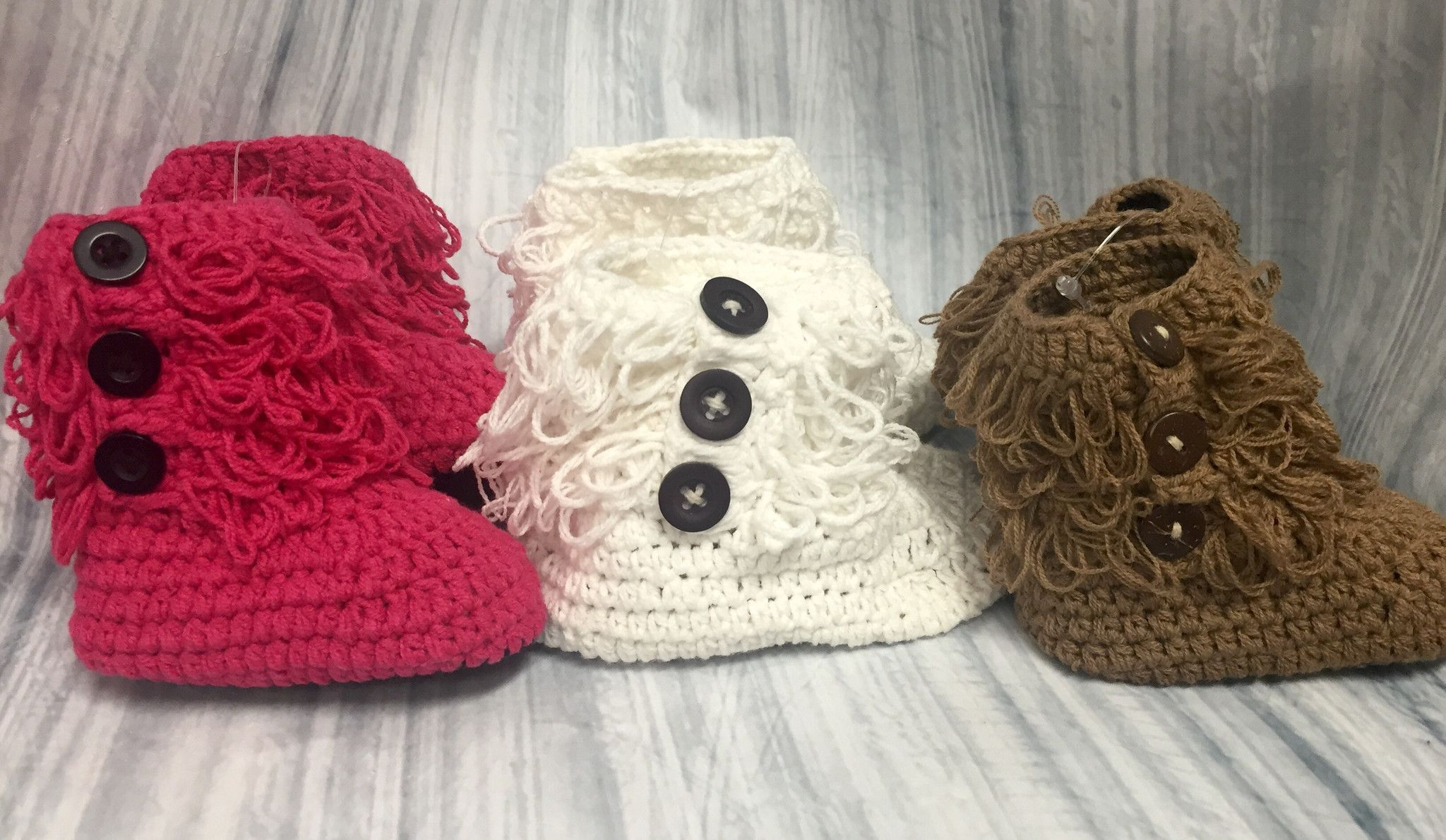 Crochet Button Booties for Baby