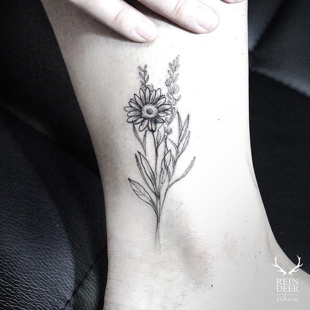 Daisy Flower Tattoo Tatuaje margarita, Tatuajes