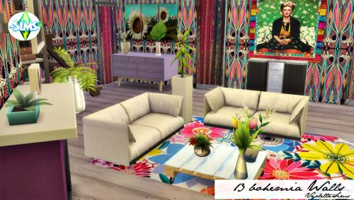 13 Bohemia Walls for The Sims 4. Recolors.  Inside Mandarina's Sim World
