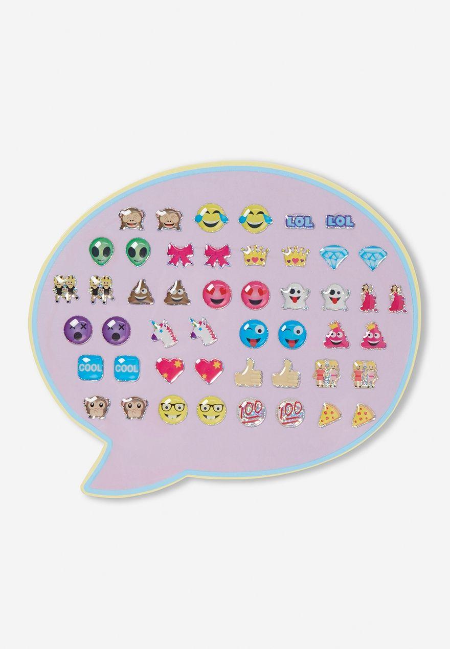 Emoji stickon earrings gold bar earrings studs claire