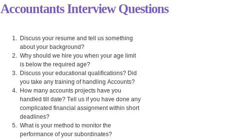 Accountants Interview Questions Read More  HttpWww