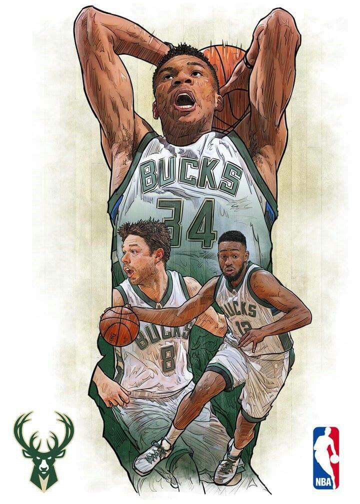 Team Milwaukee Bucks Basketball players nba, Nba art