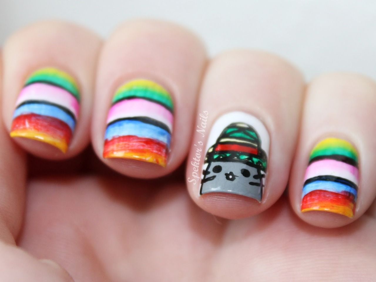 I like the stripes! The cat is kinda weird though...   Nails ...