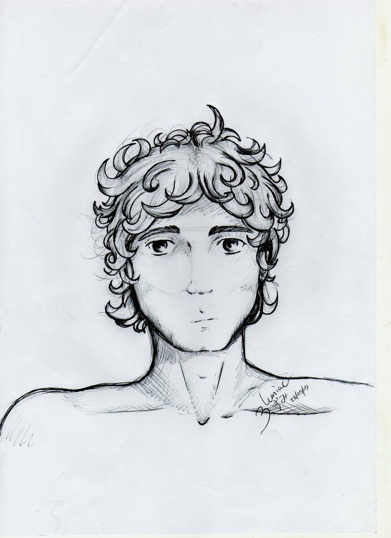 Pin By Ashley York On Draw Anime Curly Hair Boys With Curly Hair Male Sketch