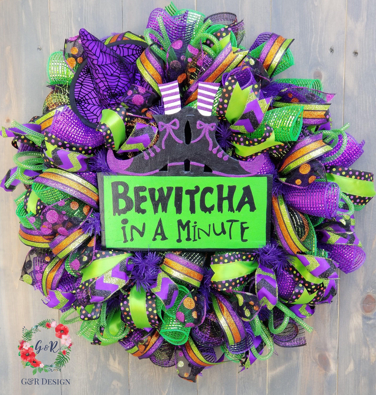 Halloween Wreath, Halloween Decor, Witch Wreath, Halloween Decorations, Wreath for Halloween, Bewitcha In A Minute Wreath #halloweenwreaths