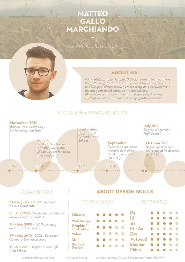 Curriculum Vitae On Behance Visual Resume Curriculum Vitae Resume Design