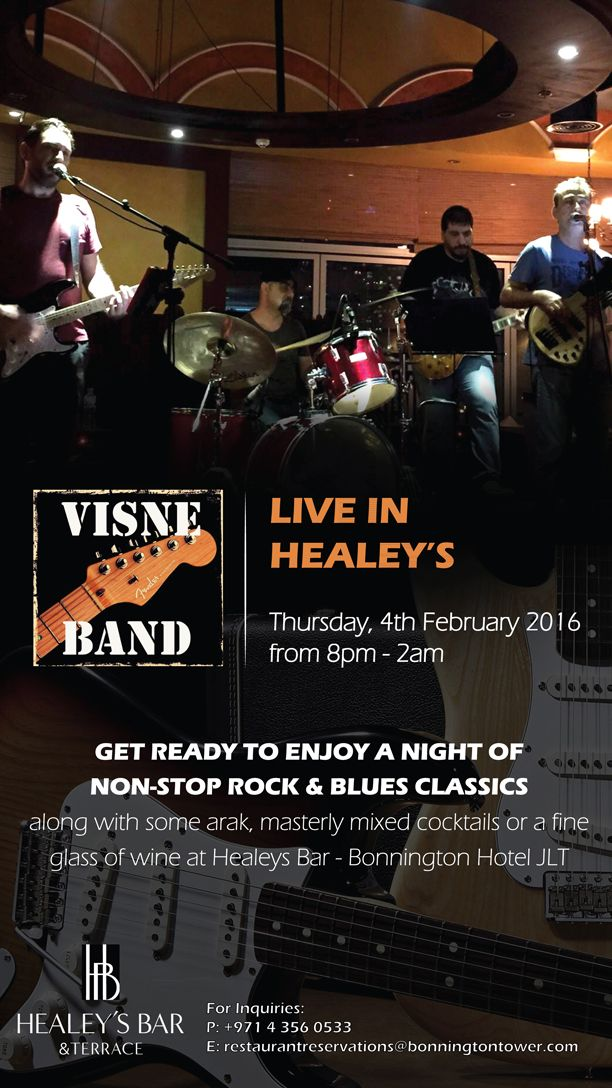 Visne Band live in Healey's! On Thursday, 4th February 2016, from 8 p.m. - 2 a.m. get ready to enjoy a night of non-stop rock & blues classics along with some Arak, masterly mixed cocktails, or a fine glass of wine. Click the pin for more info.
