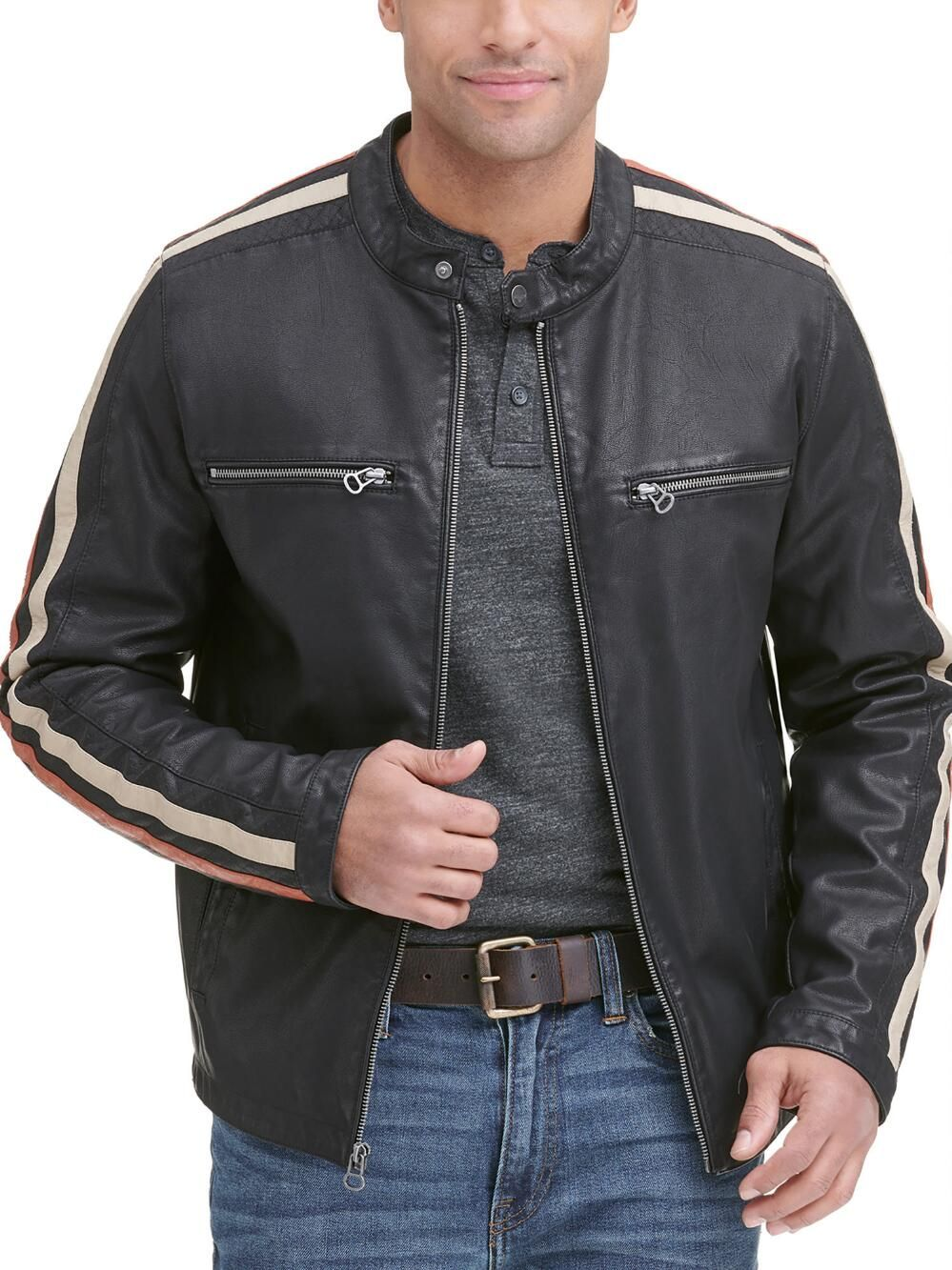 FauxLeather Jacket with Stripe (With images) Faux