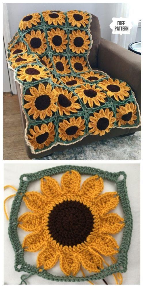 Sonnenblume Oma quadratische Decke kostenlose Häkelanleitungen - #diy #grannysquares