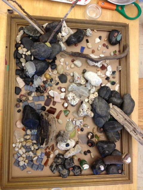 Frame used as a platform for loose parts play and creations