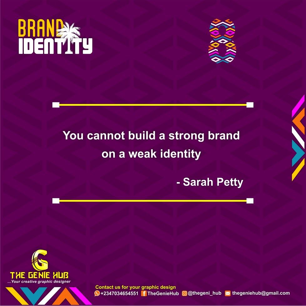 You cannot build a strong #brand on a weak #Identity     #TheGenieHub  #brandidentity #visualidentity #startup #business #portharcourt #creative #infographic #graphicdesign #branding #giveaway #hustlersquare #graphics #Insights