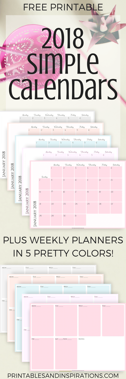 Free 2018 Simple Calendars And Planners In 5 Pretty Colors