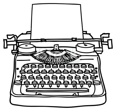 typing and coloring pages | A black and white ink line drawing of a typewriter. An ...