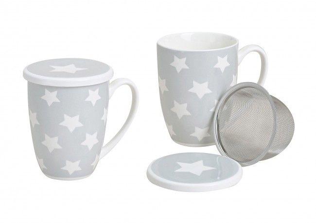 ... Tasse Teebecher Mit Trendigen Sterndekor Material Porzellan Mit   Edles  Geschirr Besteck Porzellan Silber ...