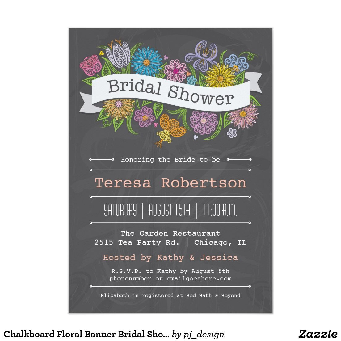 Chalkboard Floral Banner Bridal Shower InvitationElegant