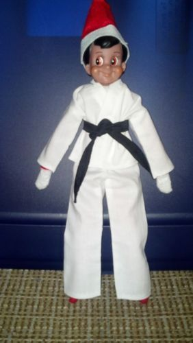 8872e834ed2 THE ELF ON THE SHELF-ELF IN A BLACK BELT KARATE OUTFIT.