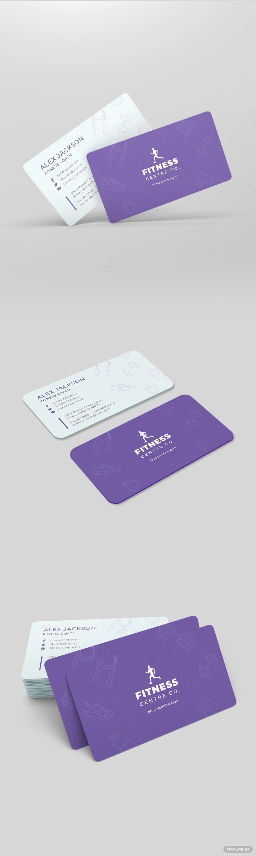 Fitness Center Business Card Template #AD, , #AFFILIATE, #Center, #Fitness, #Business, #Template, #C...