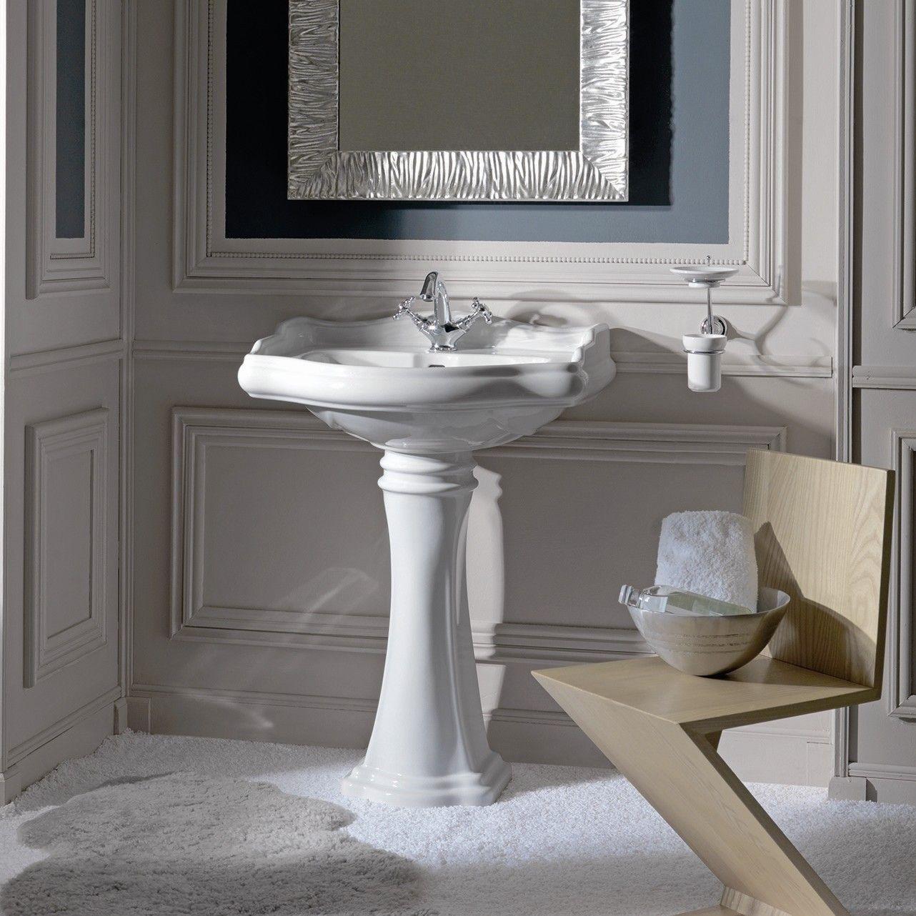 Retro Ceramic U Shaped Pedestal Bathroom Sink With Overflow Pedestal Sink Ws Bath Collections Sink