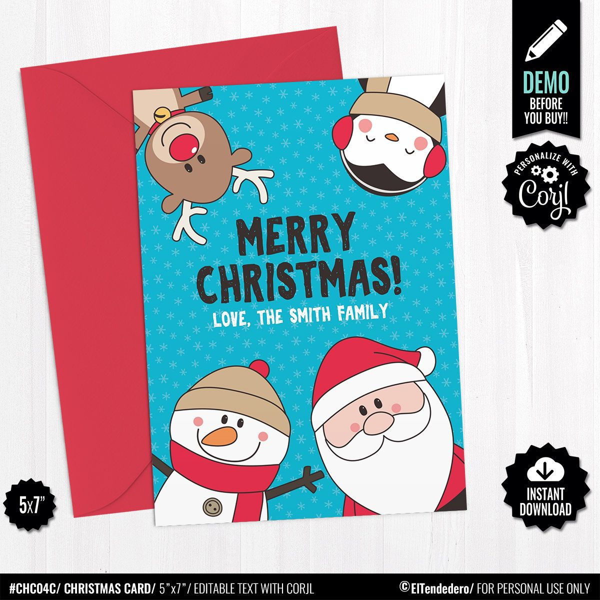 Self Editable Christmas Greeting Card Template Printable Cute Christmas Card Santa Snowman Reindeer And Penguin Instant Download Diy