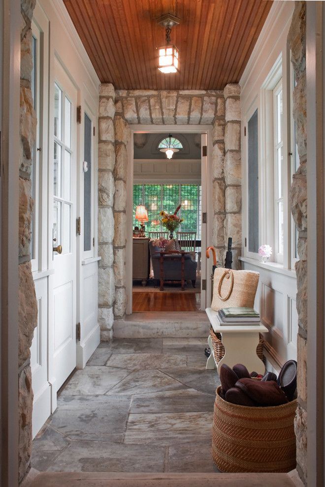 Stone Enclosed Breezeway Cottage Style Mudroom Rustic Cottage Style Mud Room Storage