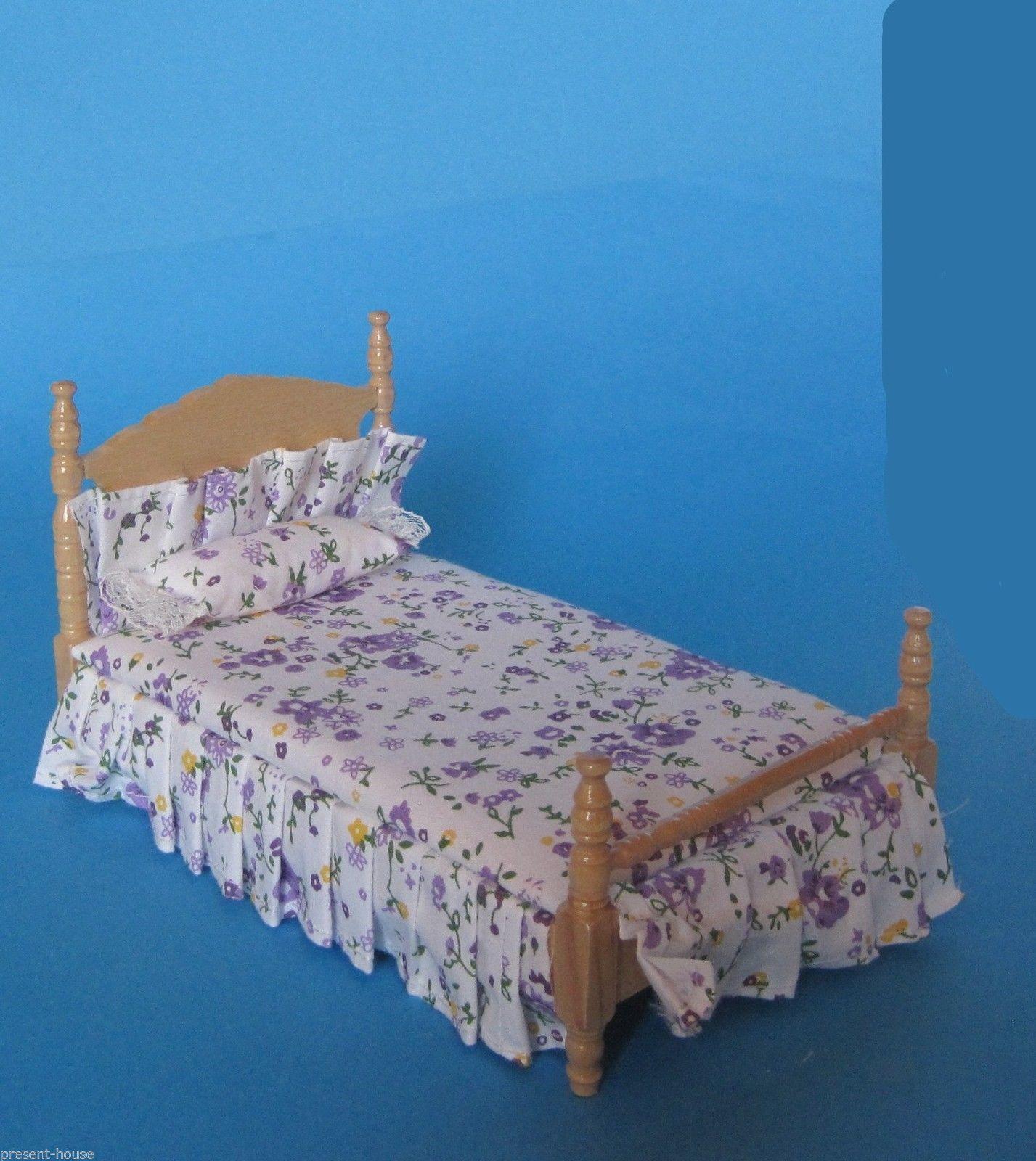 Grosses Puppenbett Schlafzimmer Naturholz lackiert Puppenhausmöbel 1 ...