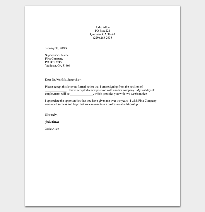 Resignation Letter Sample Simple