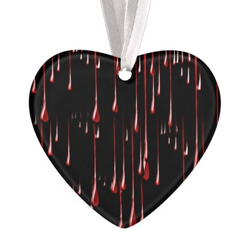 Bloody Drips on Black Background by #IgotYourBack #BLOODYdrips #ornament #heartornament