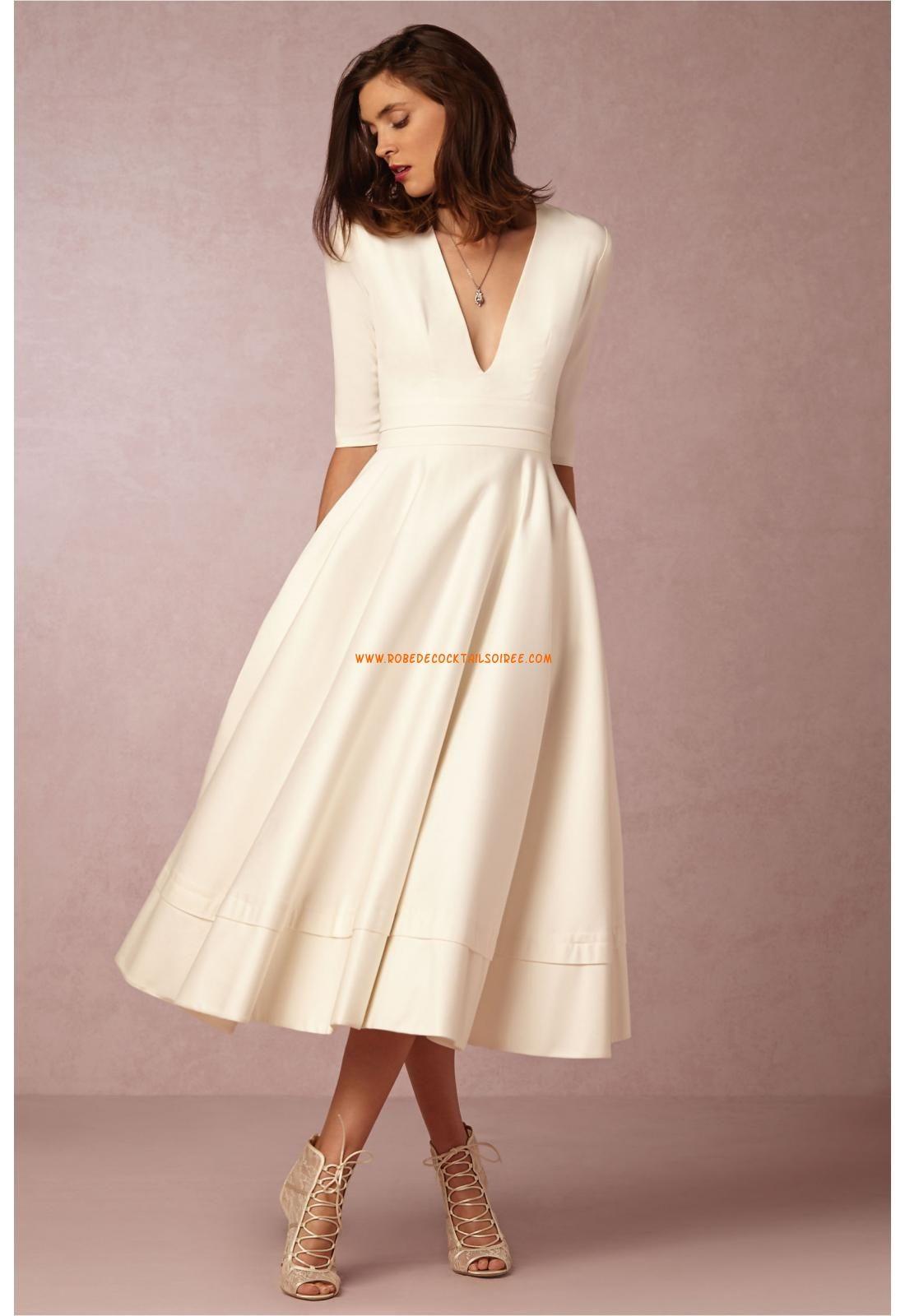 Robe de mariée satin manches mi-longue col en v séduisant pas cher à la mode 11982740393c