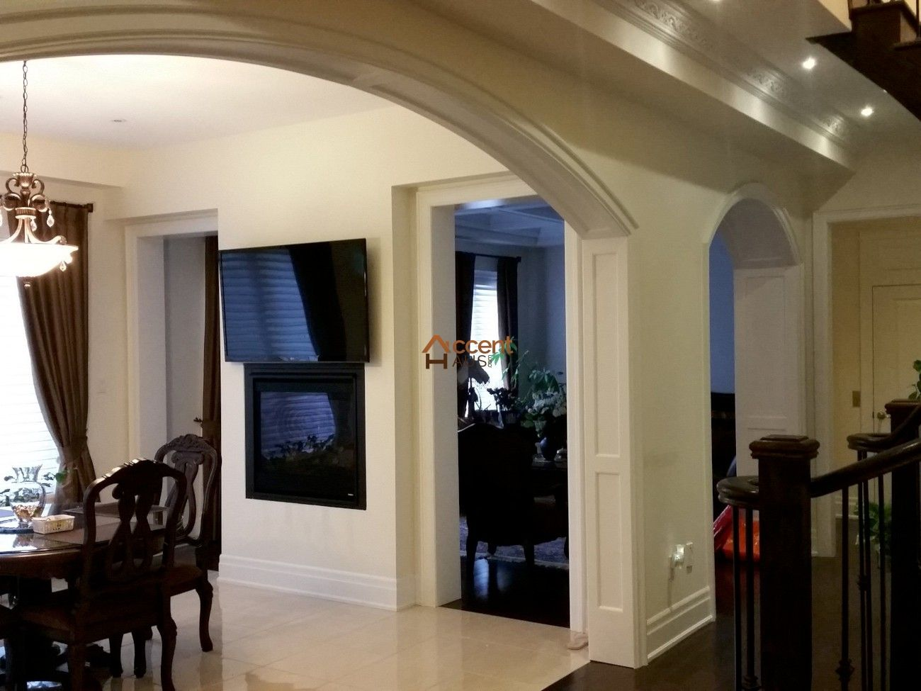 classic paneled opening in dining room in a house new market